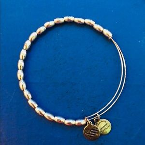 Alex and Ani Beaded Silver Bangle